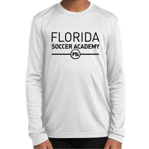 Florida Soccer Academy Youth Long Sleeve Performance Shirt - White FSA-YST350LSWhi