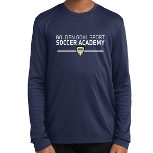 Golden Goal Sports Youth Long Sleeve Performance Shirt - Navy YST350LS-GGS