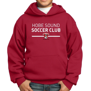 Hobe Sound Soccer Club Youth Hooded Sweatshirt - Red PC90YH-HS