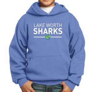 Lake Worth Sharks Youth Hooded Sweatshirt - Light Blue PC90YH-LWS