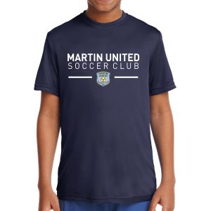 Martin United Youth Short Sleeve Performance Shirt - Navy YST350-MU