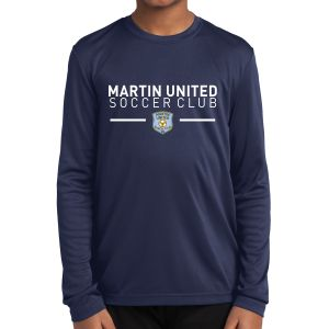 Martin United FC Youth Long Sleeve Performance Shirt - Navy YST350LS-MU