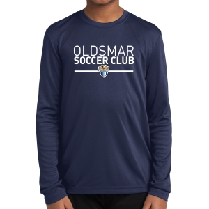 Oldsmar Soccer Club Youth Long Sleeve Performance Shirt - Navy YST350LS-OSC