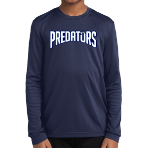 PBG Predators Youth Long Sleeve Performance Shirt - Navy YST350LS-PBG