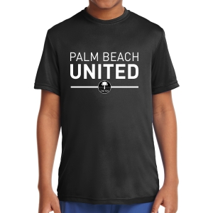 Palm Beach United Youth Short Sleeve Performance Shirt - Black PBU-YST350Blk