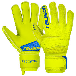 Reusch Fit Control SG Extra Finger Support Glove - Safety Yellow/Blue 3970830-583