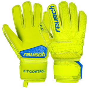 Reusch Fit Control SG Extra Finger Support Jr - Safety Yellow/Blue 3972830-583