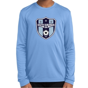 South Suburban Soccer Academy Youth Long Sleeve Performance Shirt - Light Blue SSSA-YST350LS-LB
