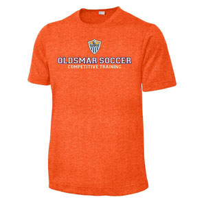 Oldsmar Soccer Club Sport Tek Youth Heather Contender Training Top - Deep Orange Heather YST360-OSC