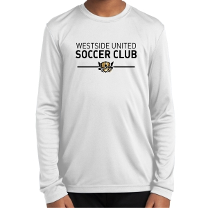 West Side United Youth Long Sleeve Performance Shirt - White WSU-YST350LSWhi