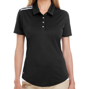 adidas Women's 3 Strip Shoulder Polo - Black A235B