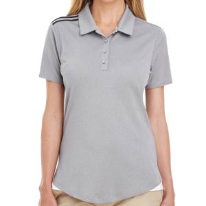adidas Women's 3 Strip Shoulder Polo - Grey A235G