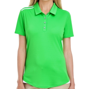 adidas Women's 3 Strip Shoulder Polo - Solar Lime A235SL