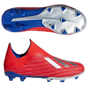 adidas Junior X 18+ FG - Active Red/Silver Metallic/Bold Blue BB9357