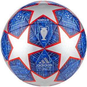 adidas UCL Finale Madrid Capitano Soccer Ball - Silver Metallic/Bold Blue/Red DN8678