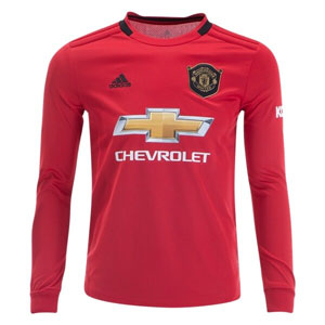 adidas Manchester United Youth Home Long Sleeve Jersey 2019-2020 DX8955