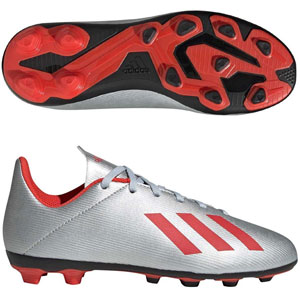 adidas Junior X 19.4 FG - Silver Metallic/Hi Res Red F35362