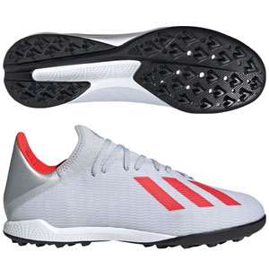 adidas X 18.3 TF - Silver Metallic/HI-Red Red Turf  F35374