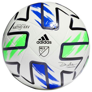 adidas MLS 2020 Nativo XXV Club Soccer Ball - White/Green/Blue FH7316