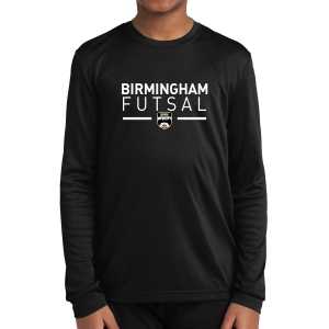 Birmingham Futsal Youth Long Sleeve Performance Shirt - Black BHF-YST350LS