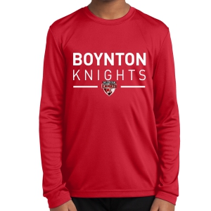 Boynton Knights FC Youth Long Sleeve Performance Shirt - Red YST350LS-BKR