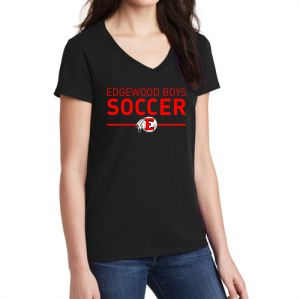 Edgewood High School Women's V-Neck T-Shirt - Black EWHS-5V00L