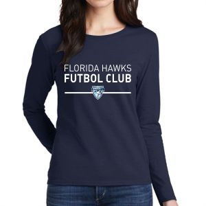 Florida Hawks FC Supporter Women's Long Sleeve T-Shirt - Navy 5400L-FHFC