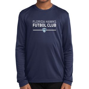 Florida Hawks FC Youth Long Sleeve Performance Shirt - Navy YST350LS-FHFC