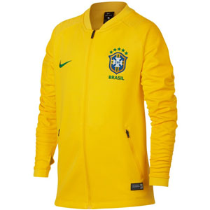 Nike Youth Brasil CBF Squad Jacket 2018 - Midwest Gold/Lucky Green 893843-749