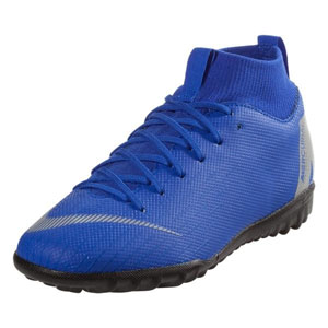 Nike Junior MercurialX Superfly VI Academy TF - Racer Blue/Metallic Silver Turf AH7344-400