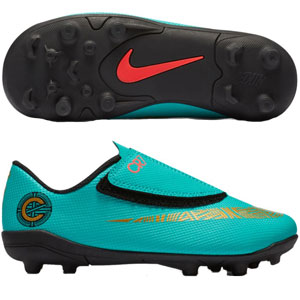 Nike Junior Mercurial Vapor Club 12 CR7 MG - Clear Jade/Metallic Vivid Gold AJ3096-390