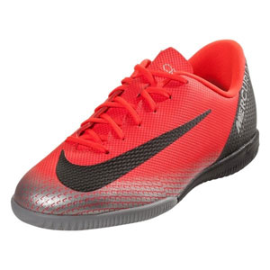 3973536e2e030 Nike CR7 Junior Vapor X 12 Academy IC - Bright Crimson/Black/Chrome Indoor