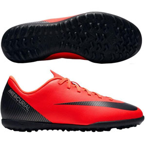 Nike Junior MercurialX Vapor 12 Club CR7 TF - Bright Crimson/Black Turf AJ3106-600