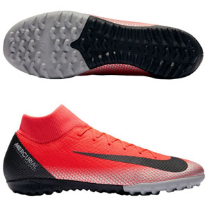 Nike Junior MercurialX Superfly 12 Academy CR7 TF - Bright Crimson/Black Turf AJ3112-600