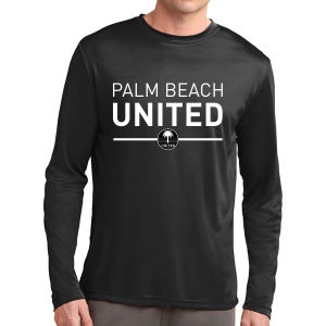 Palm Beach United Long Sleeve Performance Shirt - Black PBU-ST350LSBlk