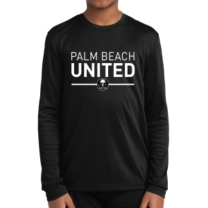 Palm Beach United Club Youth Performance Long Sleeve Shirt - Black PBU-YST350LS