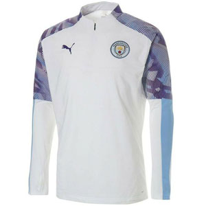 Puma Manchester City 1/4 Zip Top - Puma White/Team Light Blue 755819-24