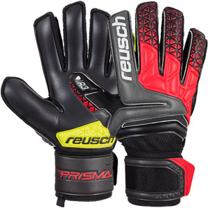 Reusch Prisma Prime R3 Finger Support Goalkeeper Glove - Black/Fire Red 3870730