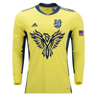 Rise FC adidas Youth adiPro 20 Goalkeeper Jersey - Shock Yellow/Team Navy Blue RISE-FI4199