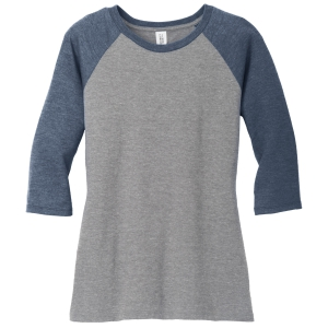 District Women's Perfect Tri 3/4 Raglan Sleeve - Navy/Grey DM136L