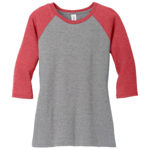 District Women's Perfect Tri 3/4 Raglan Sleeve - Red/Grey DM136L-Red