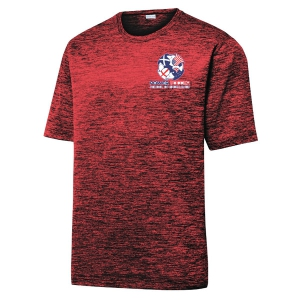 Power Soccer Heather Performance Shirt - Dark Red/Black/Electric ST390-PSC