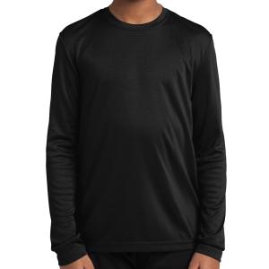 e94aee92b74f3 Sport Tek Youth Long Sleeve Performance Shirt - Black YST350LSBlk