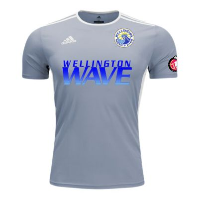 Wellington Wave SC - ECNL Girls - adidas Entrada 18 Jersey - Silver/White WWSC-CD8382-ECNLG