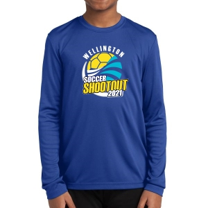 Wellington Shootout Youth Performance Long Sleeve Shirt - Blue WWSC-RB-YST350LS-SO