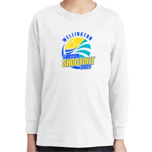 Wellington Shootout Youth Long Sleeve T-Shirt - White WWSC-W-5400B-SO