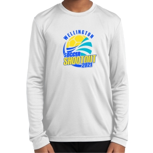Wellington Shootout Youth Performance Long Sleeve Shirt - White WWSC-W-YST350LS-SO